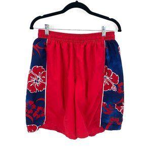 Speedo Red Blue Hibiscus Swim Trunks Size Large